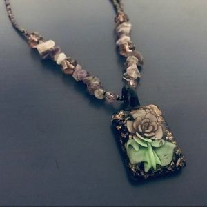 Purple/Green Beaded Rose Pendant Necklace